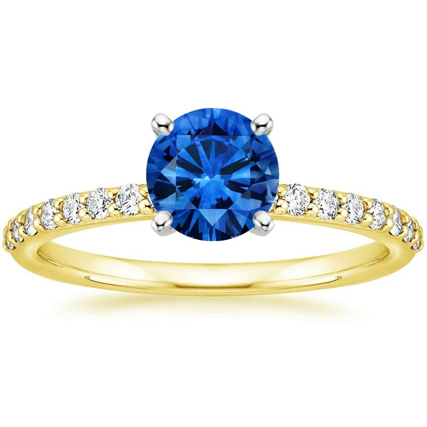 Sapphire Petite Shared Prong Diamond Ring in 18K Yellow Gold with 6mm Round Blue Sapphire