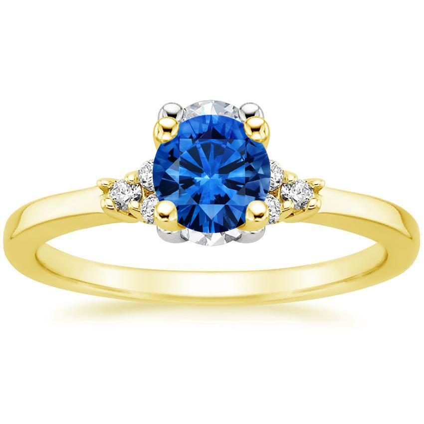 18K Yellow Gold Sapphire Trio Diamond Ring, top view