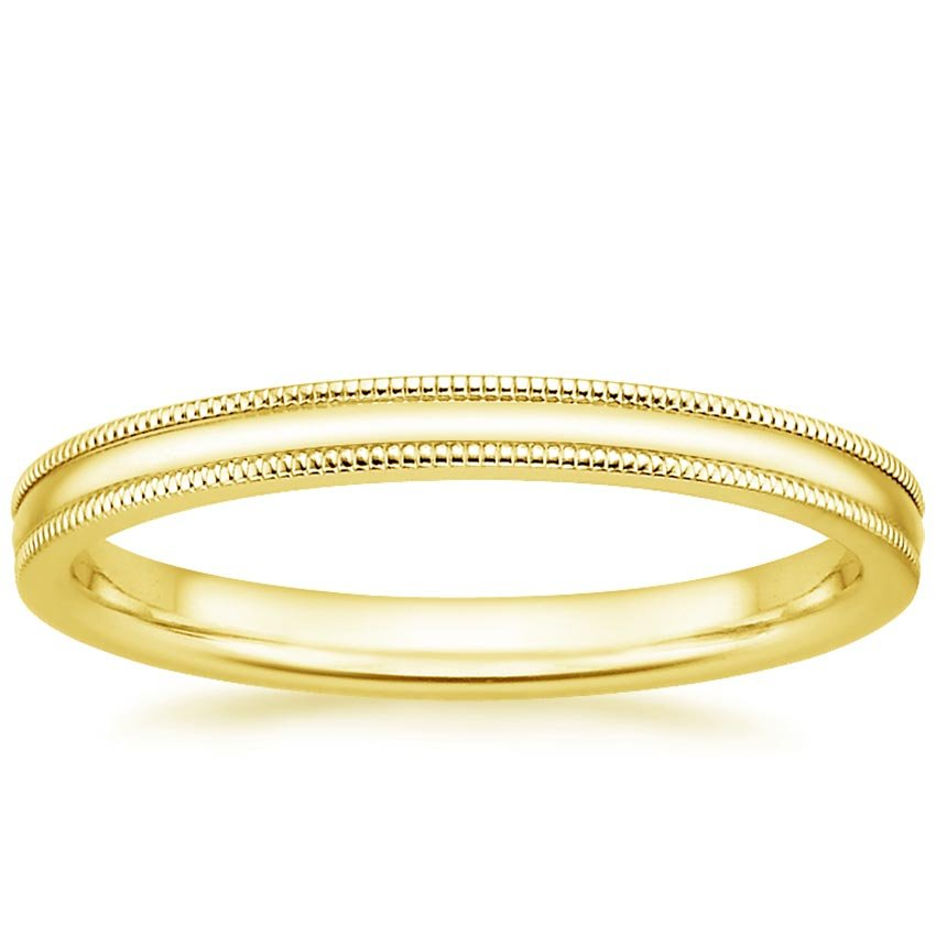 2mm Milgrain Wedding Ring In 18K Yellow Gold