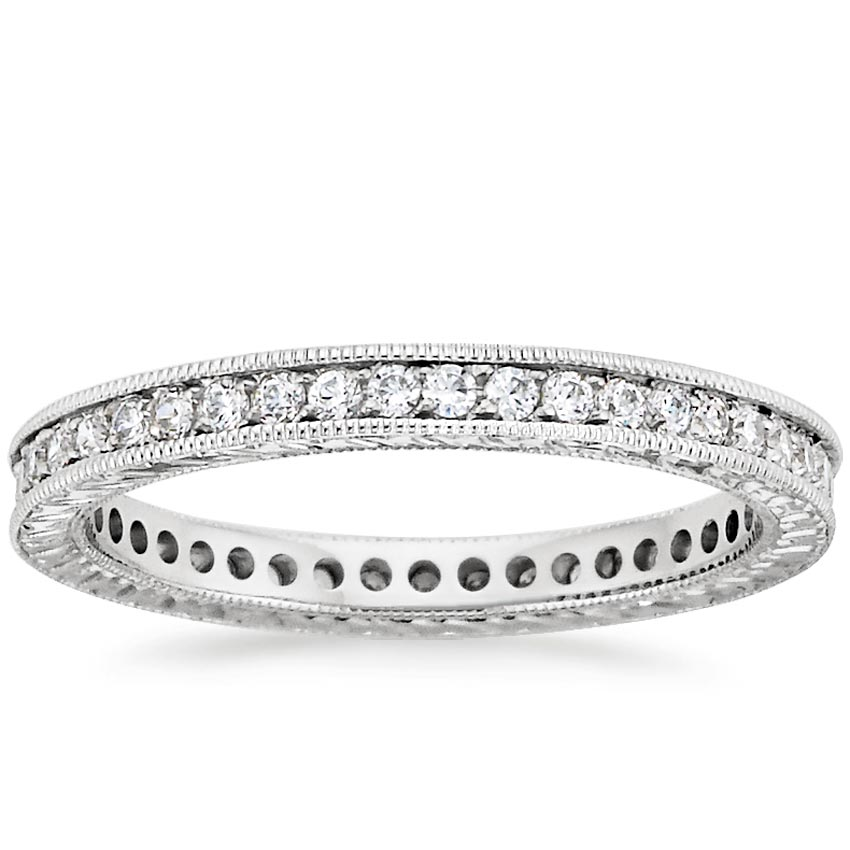 18K White Gold Beyond Eternity Pavé Diamond Ring, top view