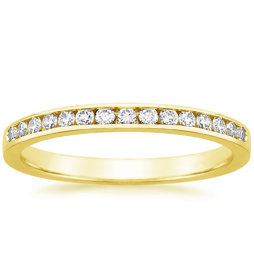 18K Yellow Gold Petite Channel Set Round Diamond Ring (1/4 ct. tw.), top view