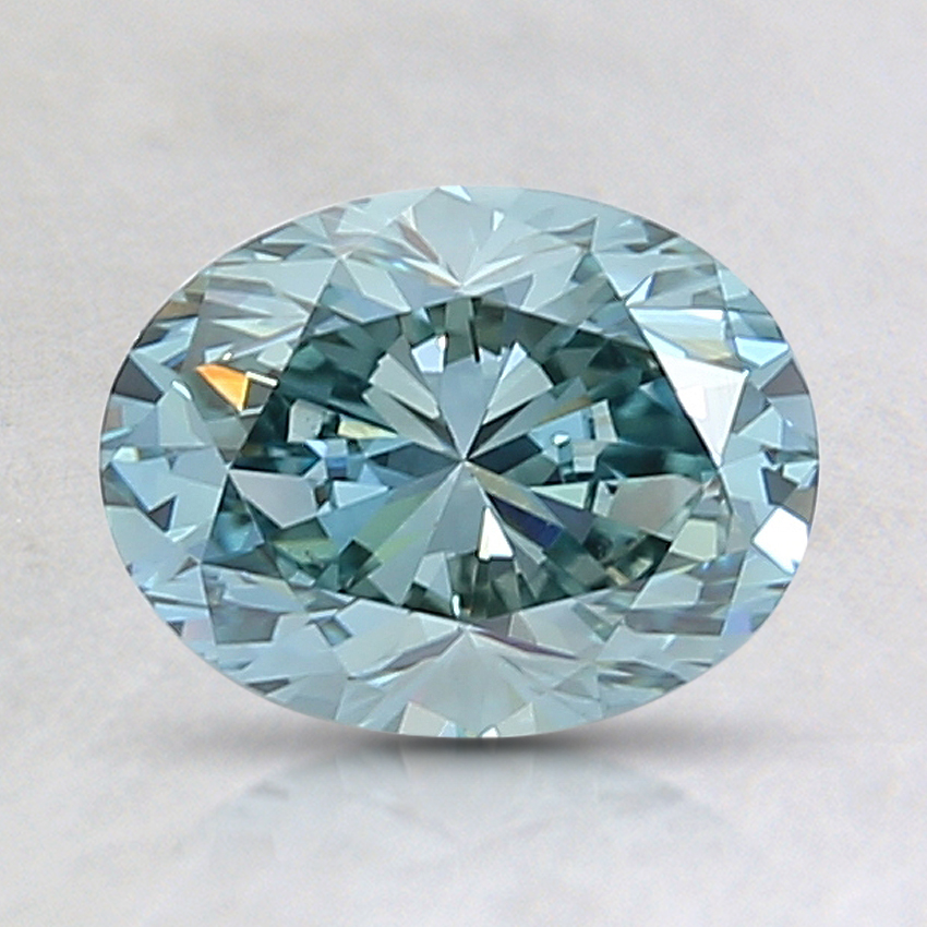 1.30 Ct. Fancy Bluish Green Oval Lab Created Diamond