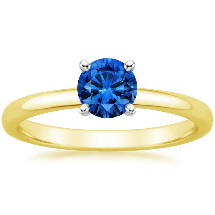 Sapphire 2mm Comfort Fit Ring in 18K Yellow Gold with 5.5mm Round Blue Sapphire