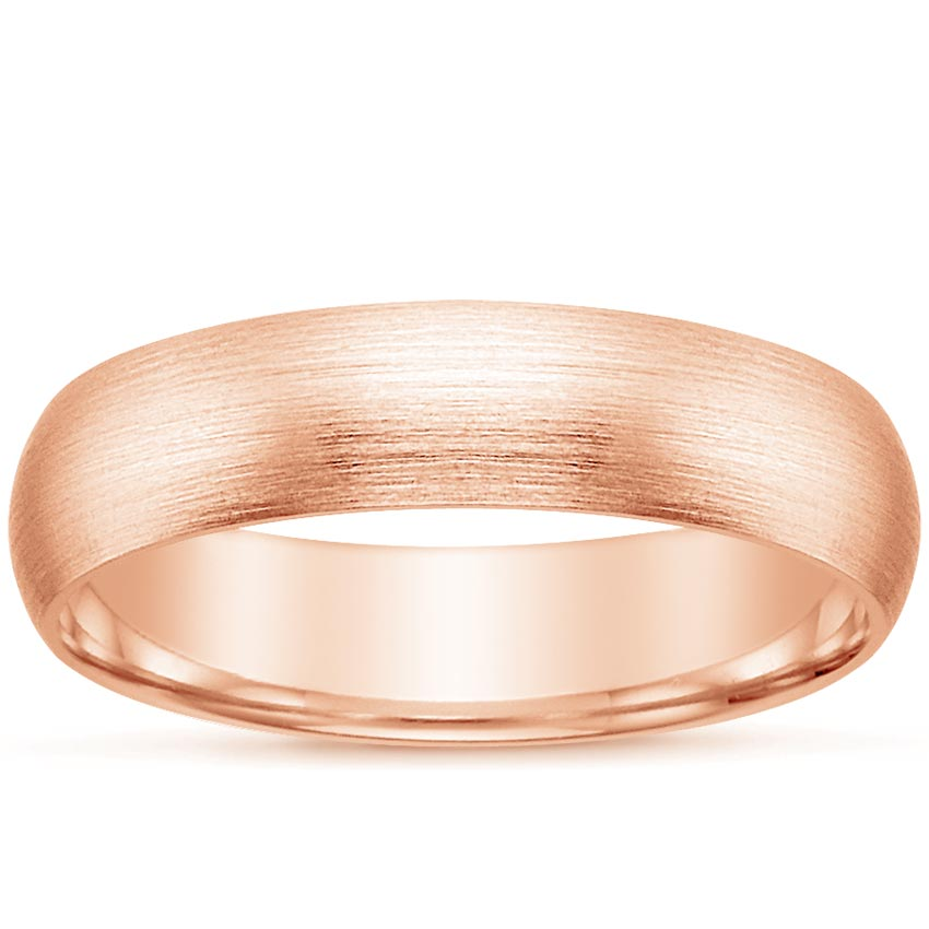 14K Rose Gold 5mm Matte Comfort Fit Wedding Ring, top view