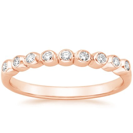 14K Rose Gold Eclipse Diamond Ring, top view