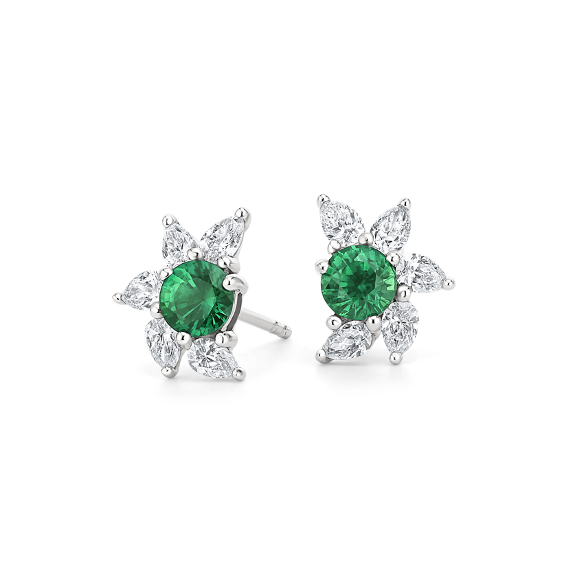 Spiral Emerald and Diamond Earrings