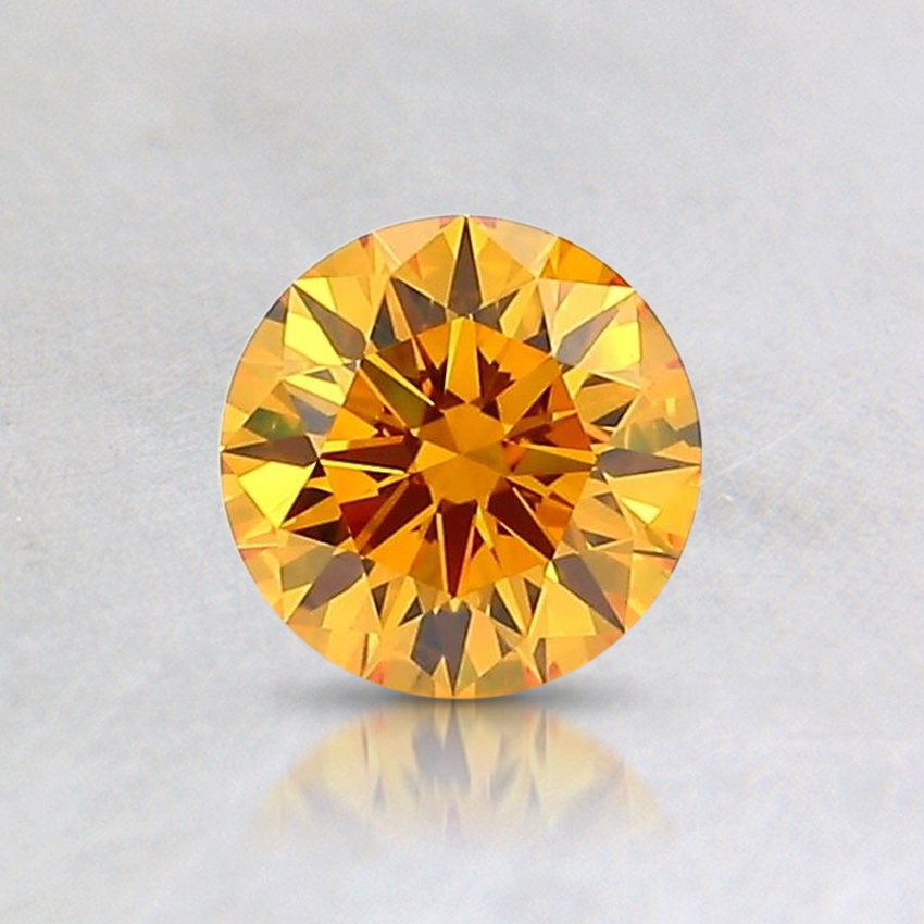 0.58 Ct. Fancy Deep Orangy Yellow Round Lab Created Diamond