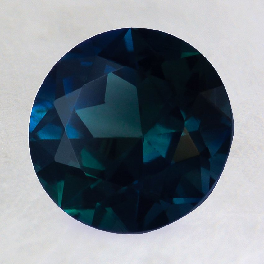 8mm Premium Teal Round Sapphire, top view