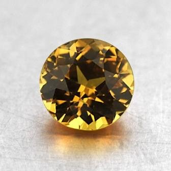 6.3mm Yellow Round Sapphire, top view