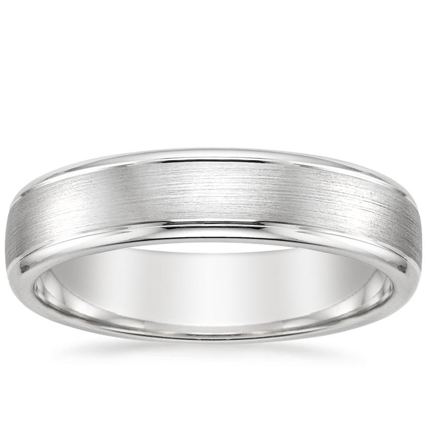 5mm Beveled Edge Matte Wedding Ring with Grooves in Platinum
