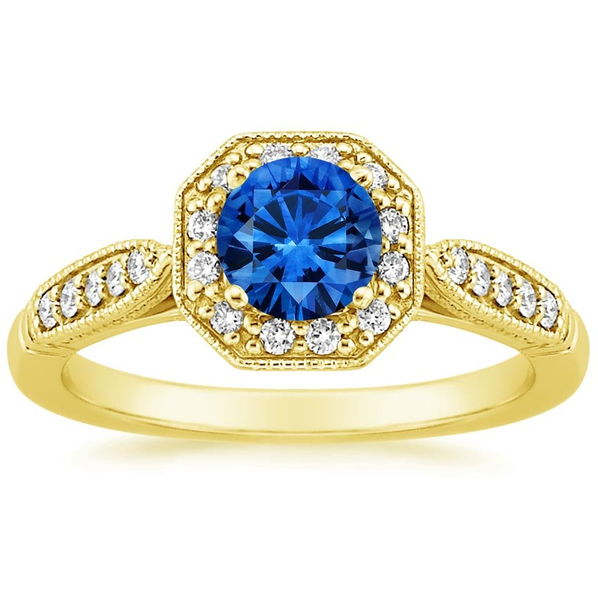 Sapphire Victorian Halo Diamond Ring in 18K Yellow Gold with 5.5mm Round Blue Sapphire