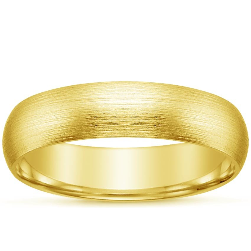 18K Yellow Gold 5mm Matte Comfort Fit Wedding Ring, top view