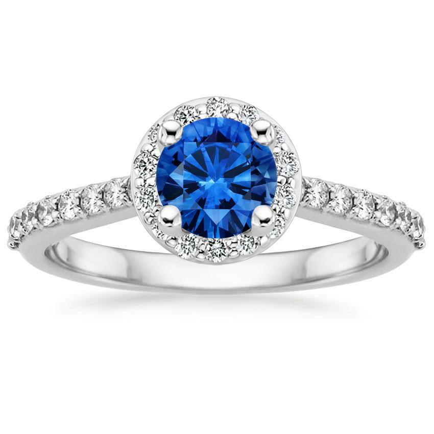 Sapphire Halo Diamond Ring with Side Stones (1/3 ct. tw.) in 18K White Gold with 5.5mm Round Blue Sapphire