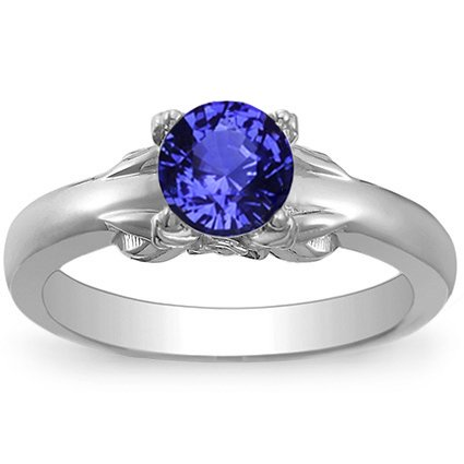 Sapphire Bouquet Ring in Platinum with 6mm Round Blue Sapphire