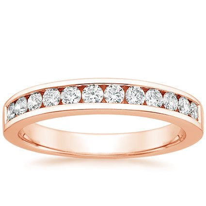 14K Rose Gold Channel Set Round Diamond Ring (1/3 ct. tw.), top view
