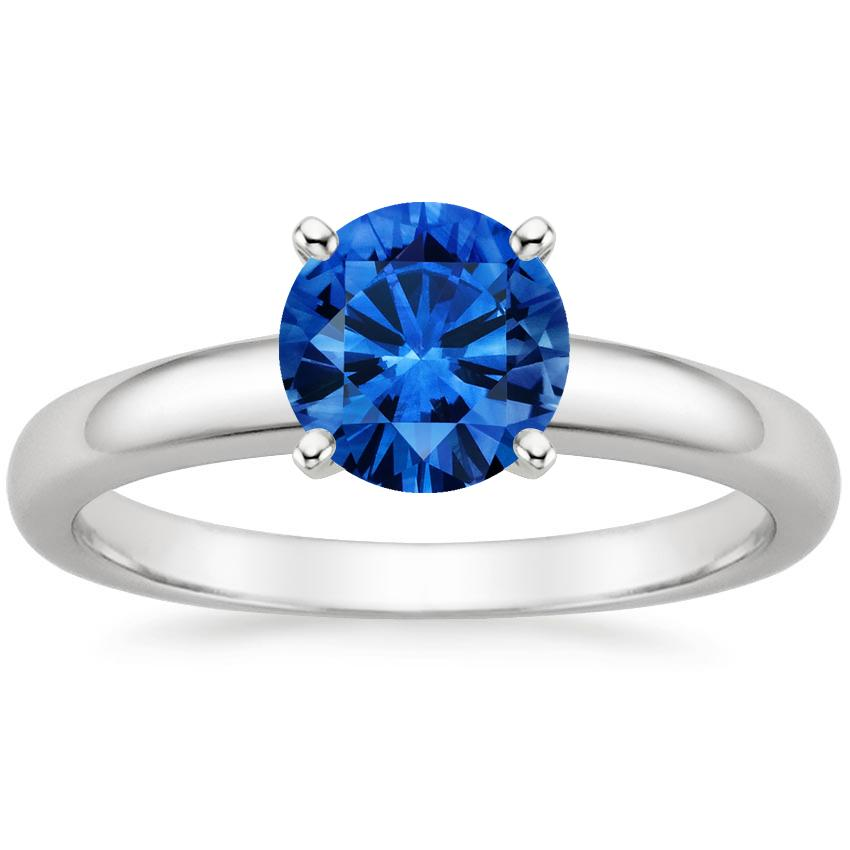 Sapphire 3mm Comfort Fit Ring in Platinum with 6.5mm Round Blue Sapphire