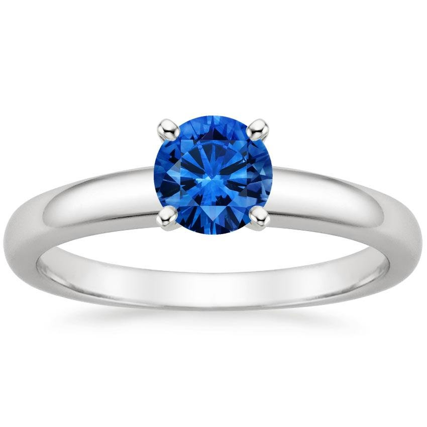 Platinum Sapphire 3mm Comfort Fit Ring, top view