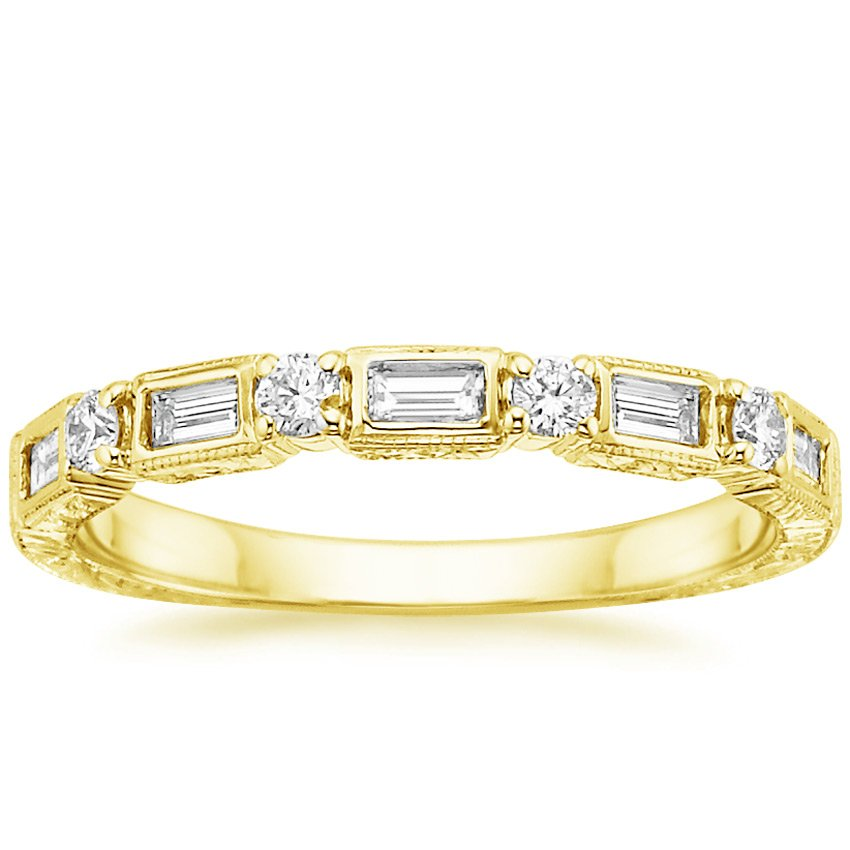 18K Yellow Gold Vintage Diamond Baguette Ring (1/3 ct. tw.), top view