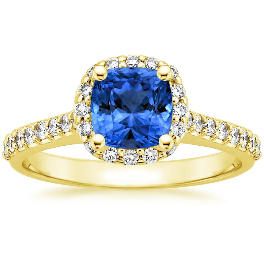 Sapphire Fancy Halo Diamond Ring with Side Stones (2/5 ct. tw.) in 18K Yellow Gold with 6x6mm Cushion Blue Sapphire