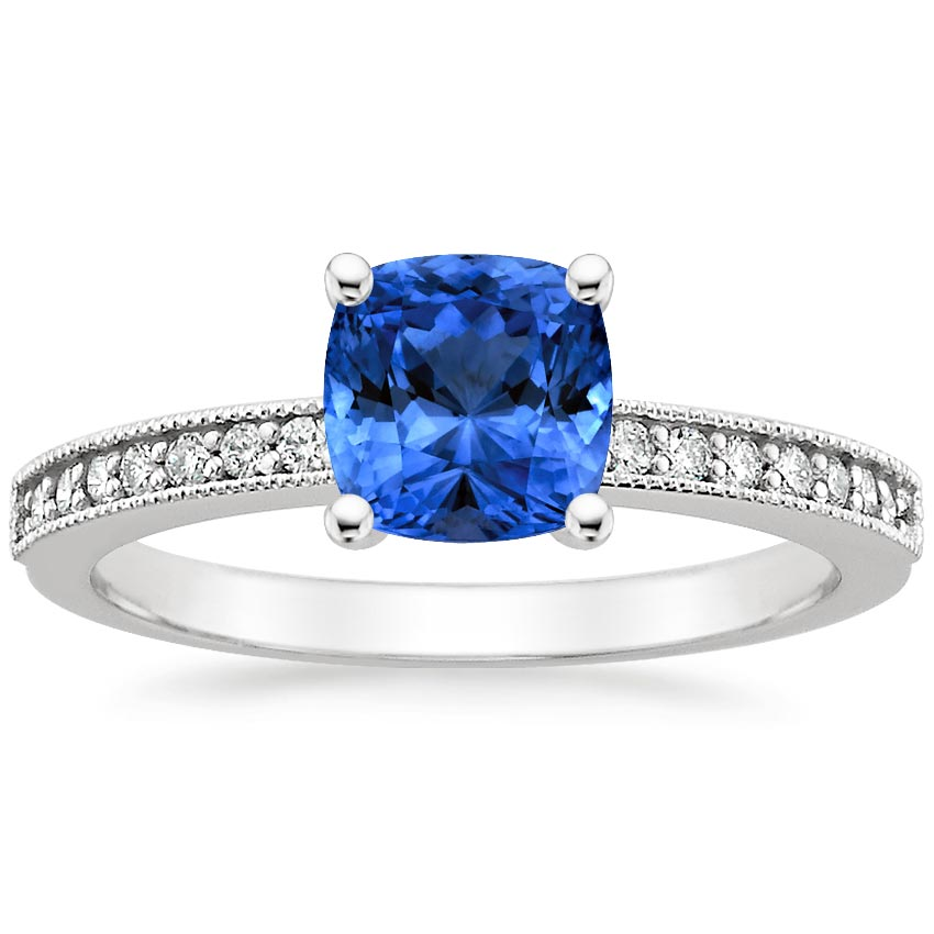18K White Gold Sapphire Pavé Milgrain Diamond Ring, top view