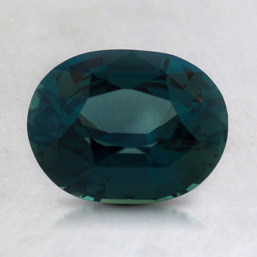 8.3x6.5mm Premium Teal Oval Sapphire, top view