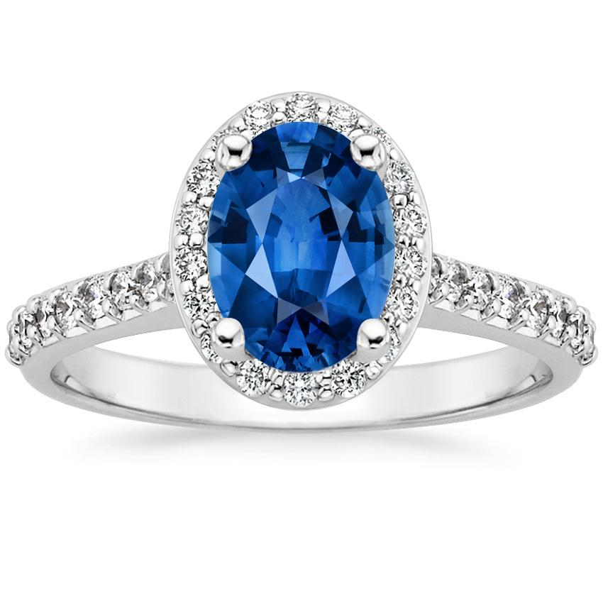 Sapphire Fancy Halo Diamond Ring with Side Stones (2/5 ct. tw.) in 18K White Gold with 8x6mm Oval Blue Sapphire
