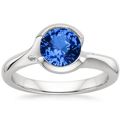 Sapphire Cascade Ring with Diamond Accents in Platinum with 6.5mm Round Blue Sapphire