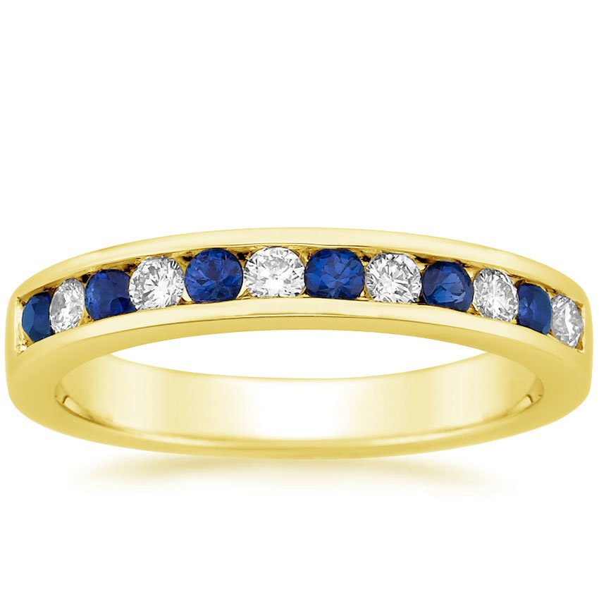 18K Yellow Gold Channel Set Round Sapphire and Diamond Ring, top view