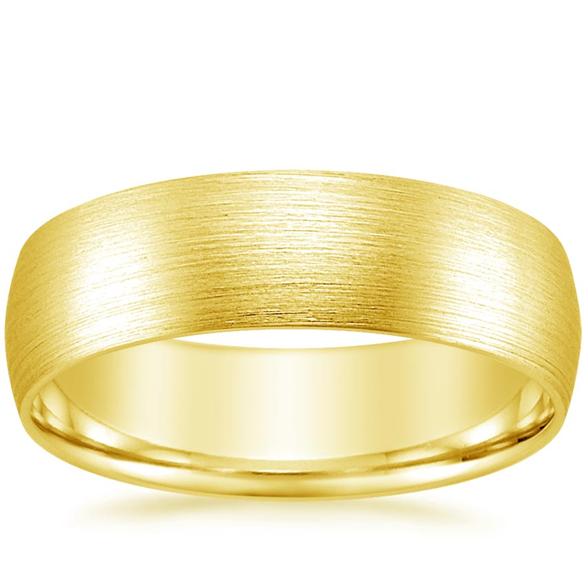 18K Yellow Gold 6mm Matte Comfort Fit Wedding Ring, top view