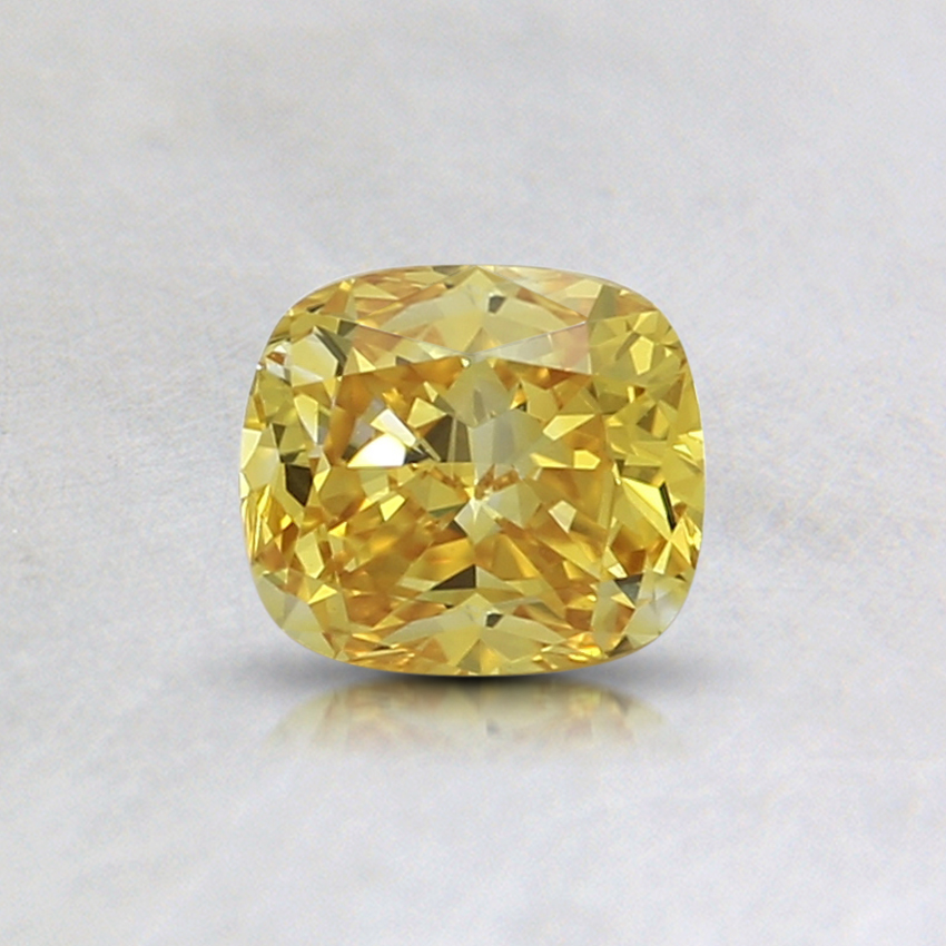 0.46 Ct. Fancy Intense Yellow Cushion Lab Created Diamond
