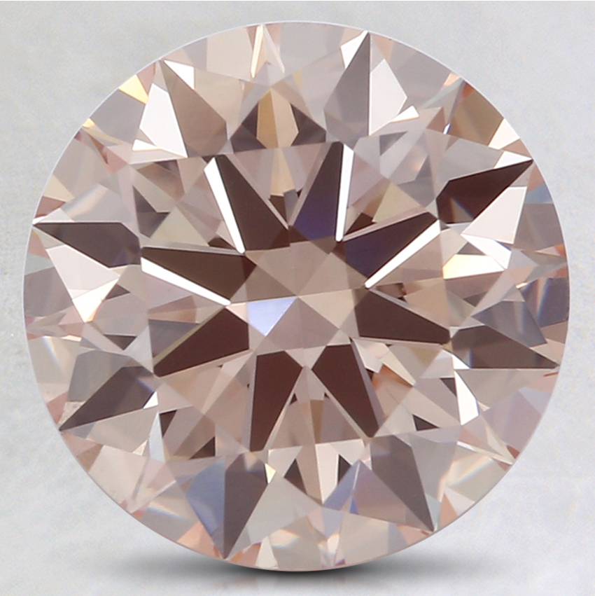 3.01 Ct. Fancy Light Orangy Pink Round Lab Created Diamond