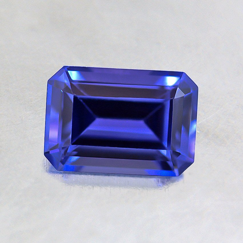 6.5x4.5mm Blue Emerald Cut Sapphire, top view