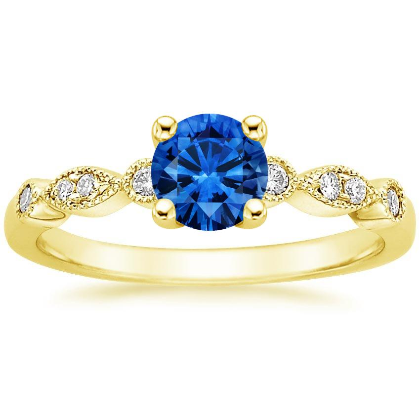 Sapphire Tiara Diamond Ring in 18K Yellow Gold with 5.5mm Round Blue Sapphire