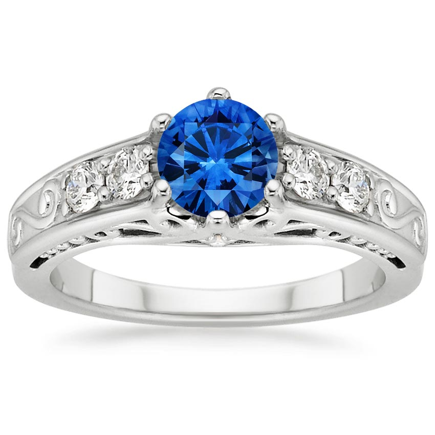 18K White Gold Sapphire Art Deco Filigree Diamond Ring, top view