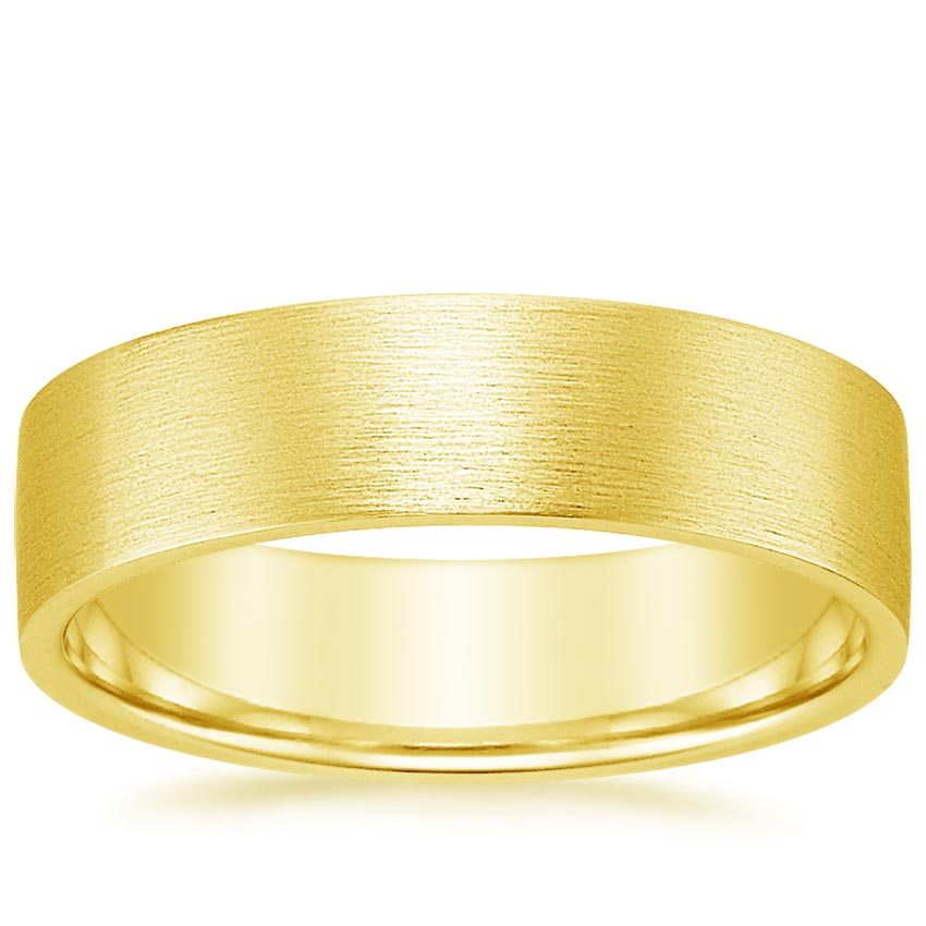 18K Yellow Gold 6mm Flat Matte Comfort Fit Wedding Ring, top view
