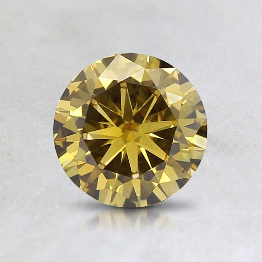 0.7 Ct. Lab Created Fancy Deep Yellow Round Diamond, top view