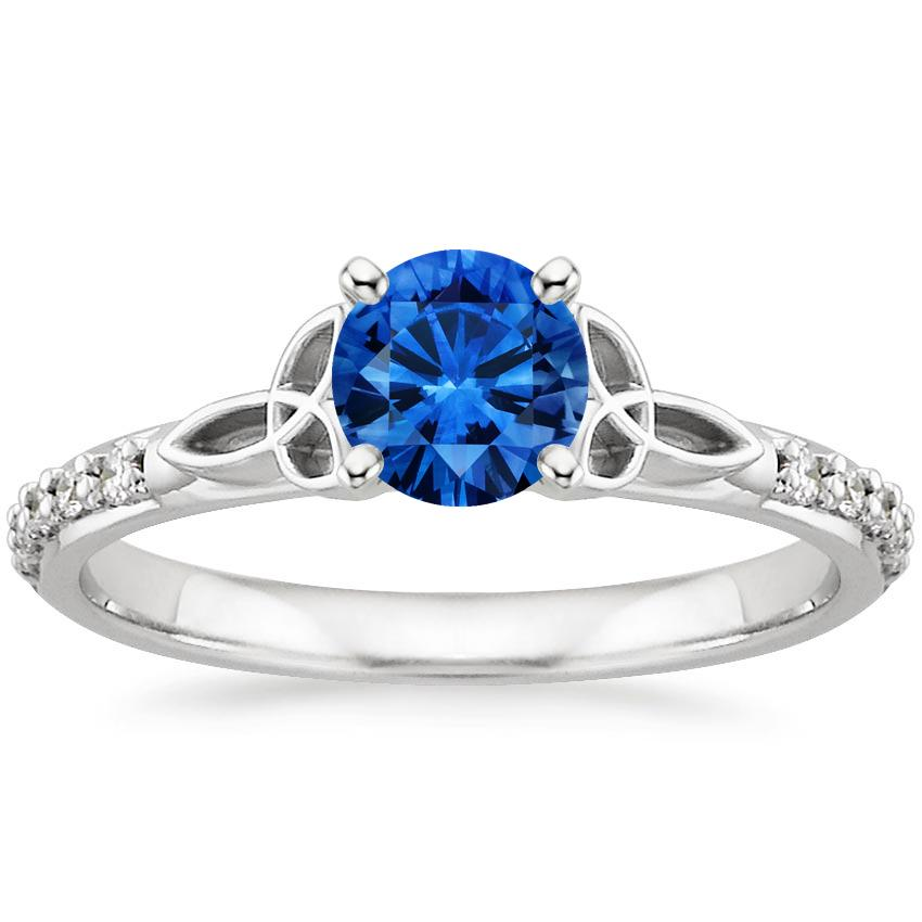 Sapphire Luxe Celtic Love Knot Diamond Ring in 18K White Gold with 5.5mm Round Blue Sapphire