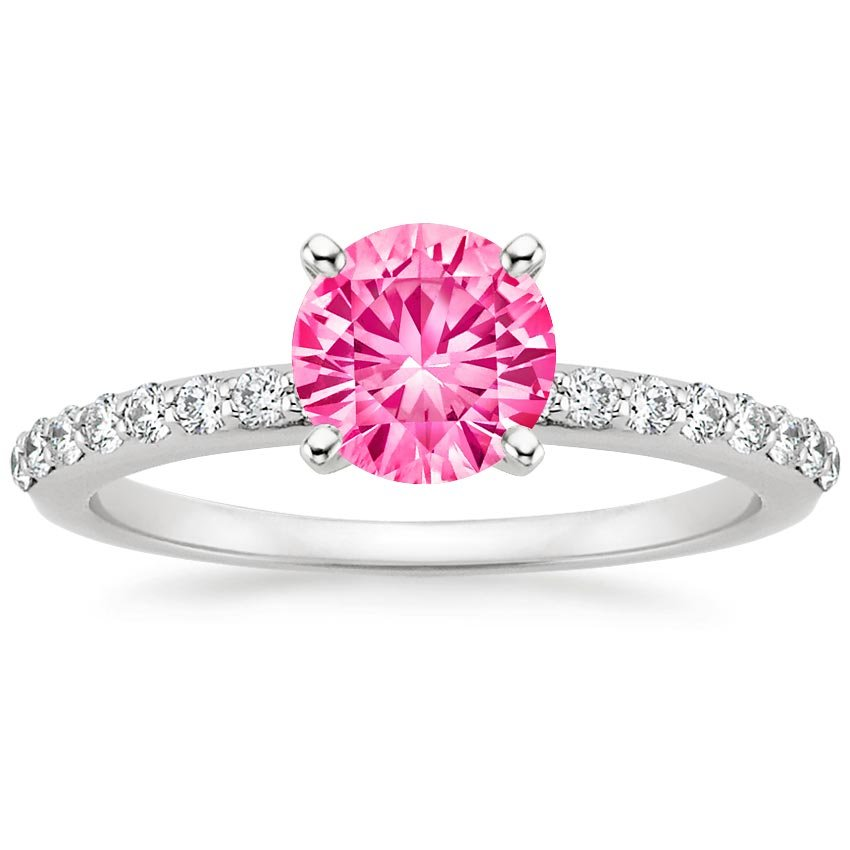 Sapphire Petite Shared Prong Diamond Ring in 18K White Gold with 6mm Round Pink Sapphire