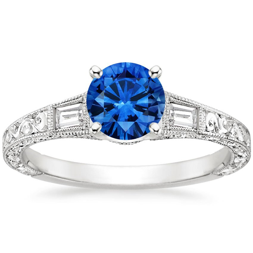 18K White Gold Sapphire Regalia Diamond Ring, top view