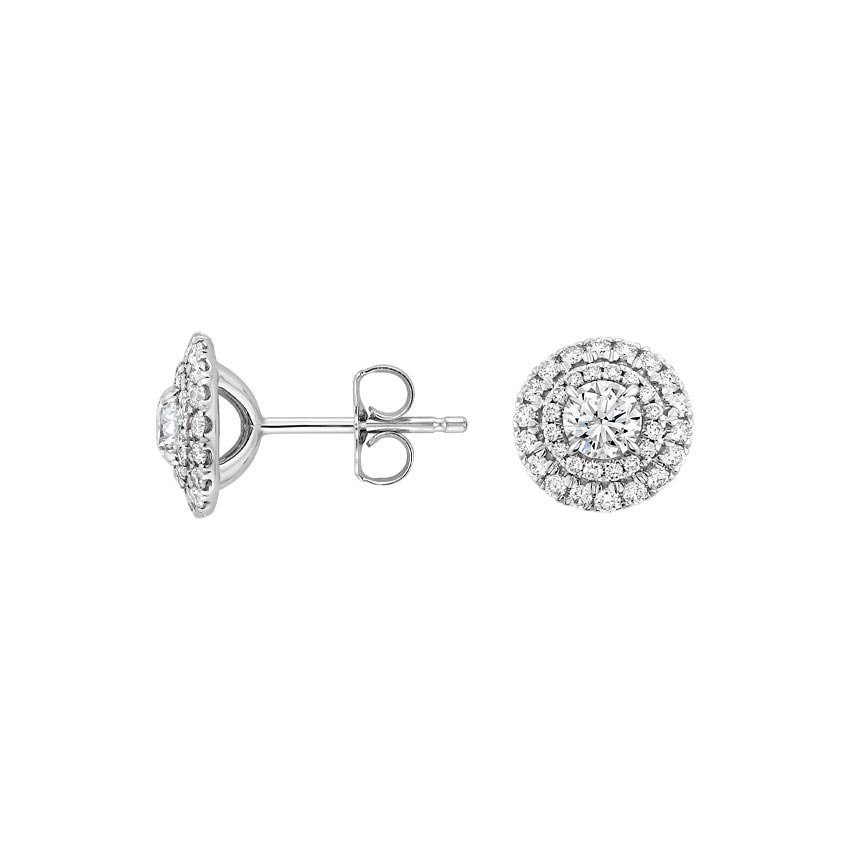 957651cef Double Halo Diamond Earrings in 18K White Gold