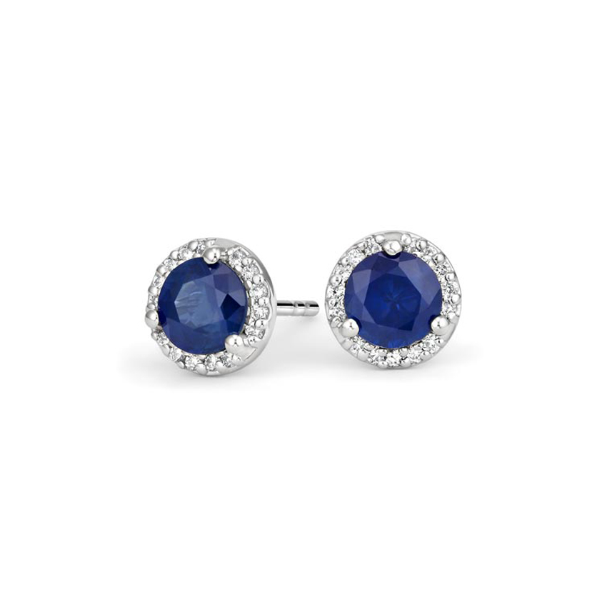 Sapphire Halo Diamond Earrings in 18K White Gold