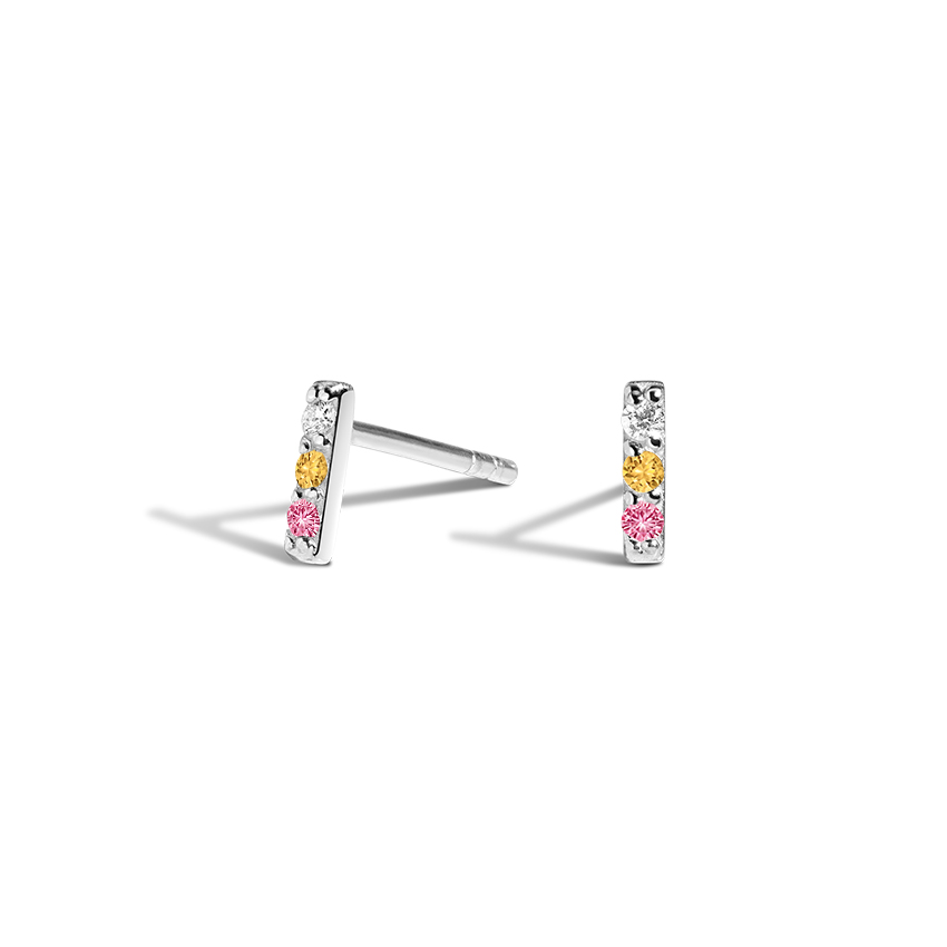 Diamond, Pink Sapphire, and Citrine Earrings