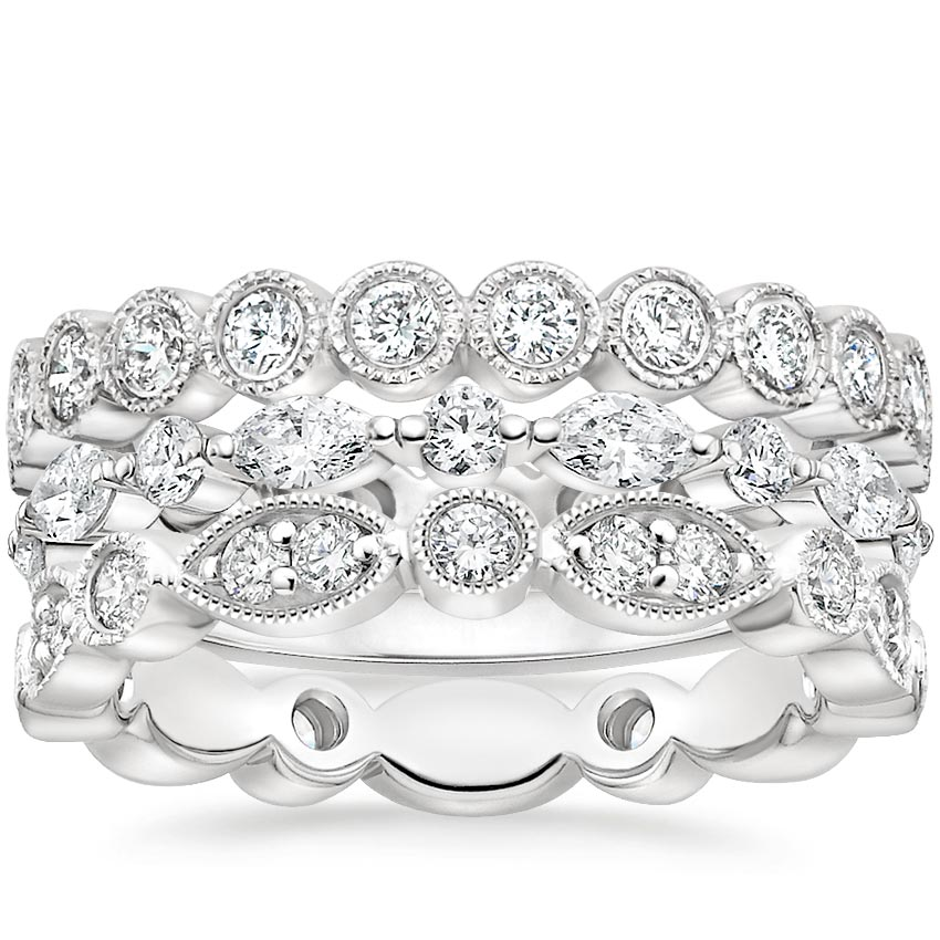 Luxe Vintage Diamond Ring Stack (1 1/2 ct. tw.) in Platinum