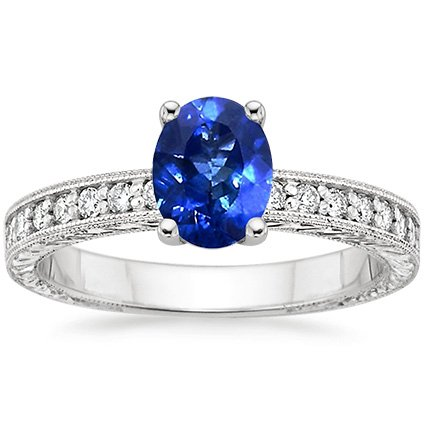 18K White Gold Sapphire Engraved Pavé Milgrain Diamond Ring (1/4 ct. tw.), top view