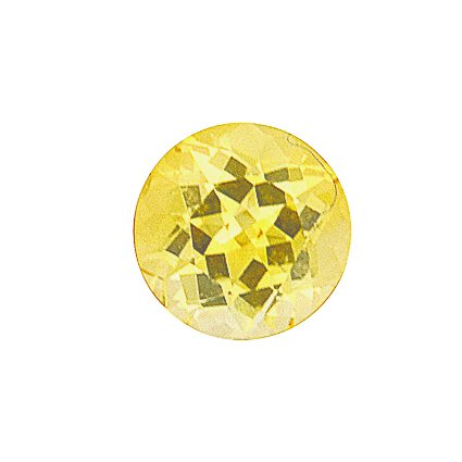 6.7mm Yellow Round Sapphire, top view