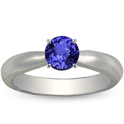 Sapphire Taper Ring in Platinum with 5.5mm Round Blue Sapphire