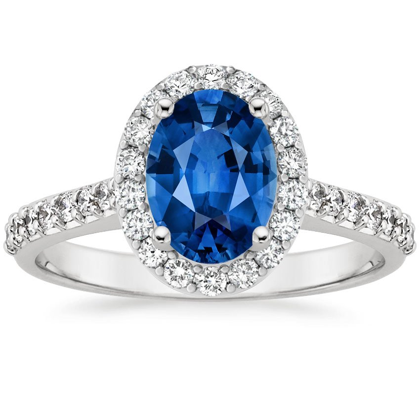 Platinum Sapphire Fancy Halo Diamond Ring with Side Stones, top view