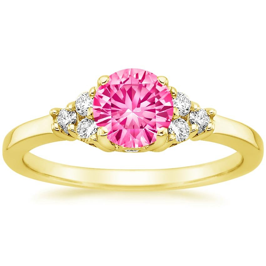 Sapphire Trio Diamond Ring in 18K Yellow Gold with 6mm Round Pink Sapphire