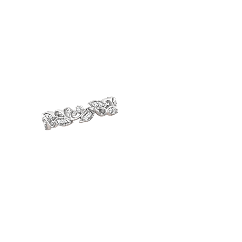 Ivy Scroll Bands: Ivy Scroll Diamond Ring In 18K White Gold