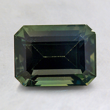 8X6mm Premium Green Emerald Sapphire, top view